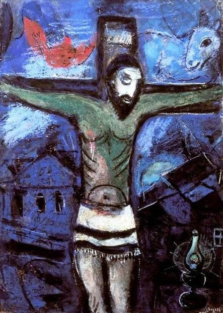 Marc Chagall - Le Christ dans la nuit 1948 (Chagall paints this image of Jesus as the perfect example of Jewish suffering and to represent the Holocaust.)