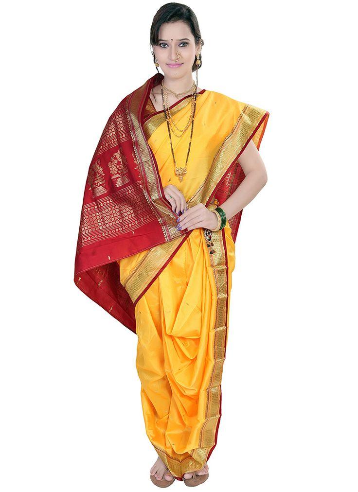 Yellow Jacquard Nauvari Saree