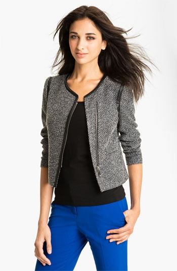 Vince Camuto Tweed Jacket with Faux Leather Trim available at #Nordstrom