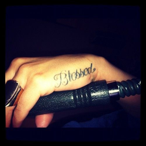 <3 blessed tattoo on the hand <3 this is where I want my next tattoo but its gonna say somethin different