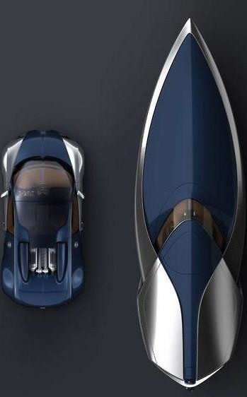 Bugatti Car vs. Bugatti Yacht Beautiful blue and silver