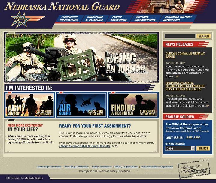 """Клиент: Национальная Гвардия США Описание: Дизайн веб-сайта для Национальной Гвардии США (офис штата Небраска). Духом патриотизма пропитана каждая страница проекта. Сайт предоставляет возможность каждому пройти курс """"молодого бойца"""" и записаться в ряды американской армии, тем более что представленная информация и оформление располагают к этому."""