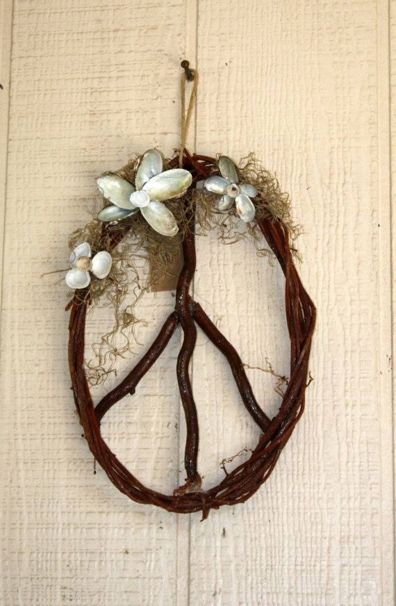 Peace Sign Wreath with Clam Shells. $25.00, via Etsy.