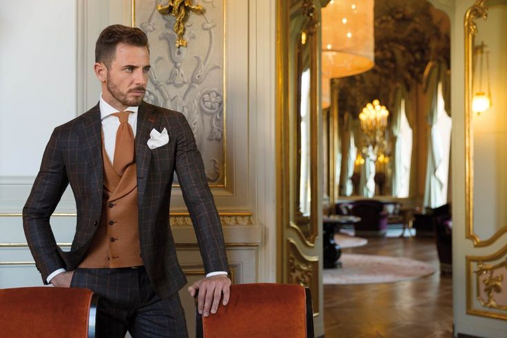 SUIT PRINCE OF WALES - BROWN, ORANGE LINES Discover more http://www.sartoriarossi.com/en/FALL-WINTER/Suits/mans-suit--prince-of-wales---brown,-orange-lines.html