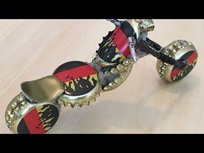 Ein Harley Davidson Custom Motorrad aus Kronkorken machen. DIY Mit Kronkorken ba…
