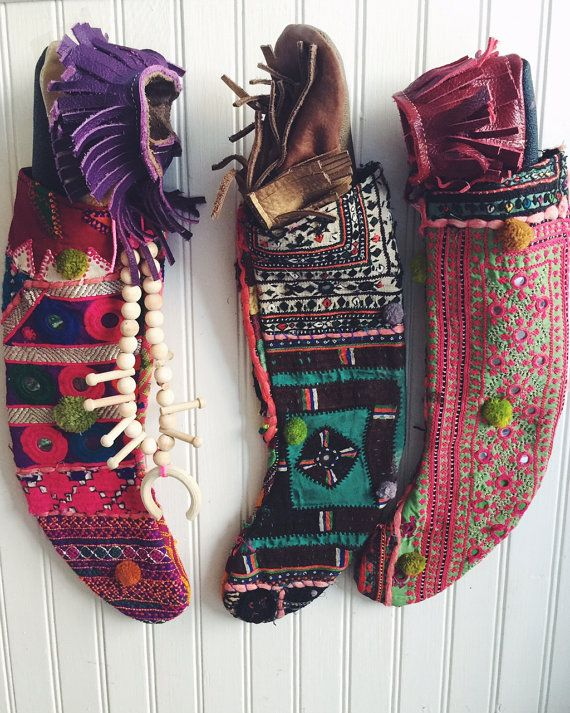 Bohemian Christmas Stockings by Cloud9Jewels #handmade #etsy