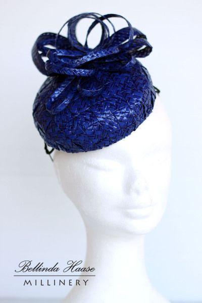 Royal Blue Swiss Braid Cocktail Hat - by BELLINDA HAASE #millinery #HatAcademy #hats