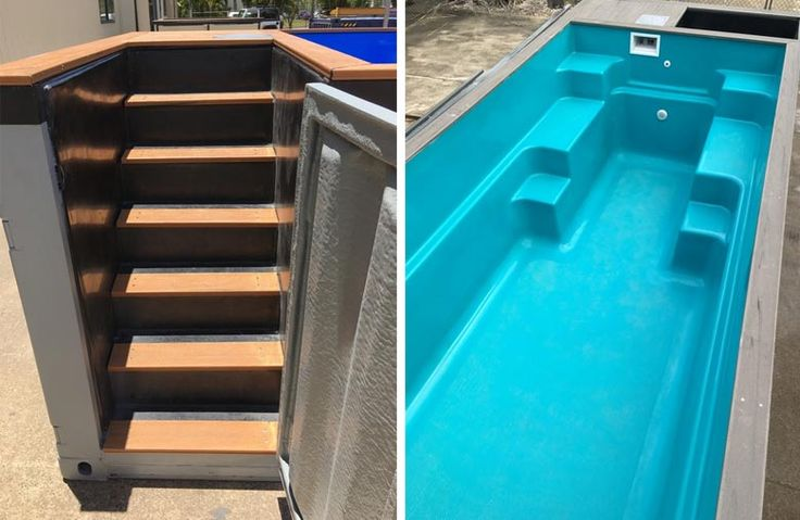 Stairs and Fiberglass Shell of Robust Pools pool they are built using shipping containers