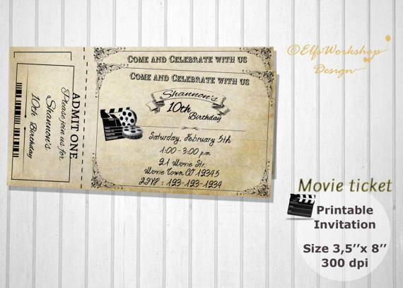 Movie night invitation Movie ticket  by ElfsWorkshopDesign on Etsy