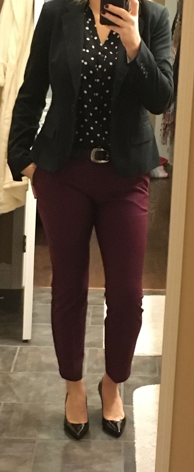 Work wear that is cute! Cropped/ankle pants & polka dot Portofino shirt from Express, Calvin Klein heels from Amazon and a great black blazer from Target.