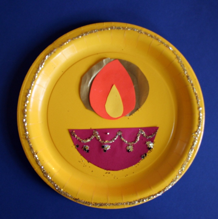 Simple Diwali paper plate craft