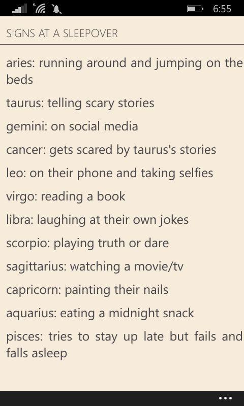 """Zodiacs at Sleepovers © moaningmgc  """"zodiac signs"""" (Wattpad)"""