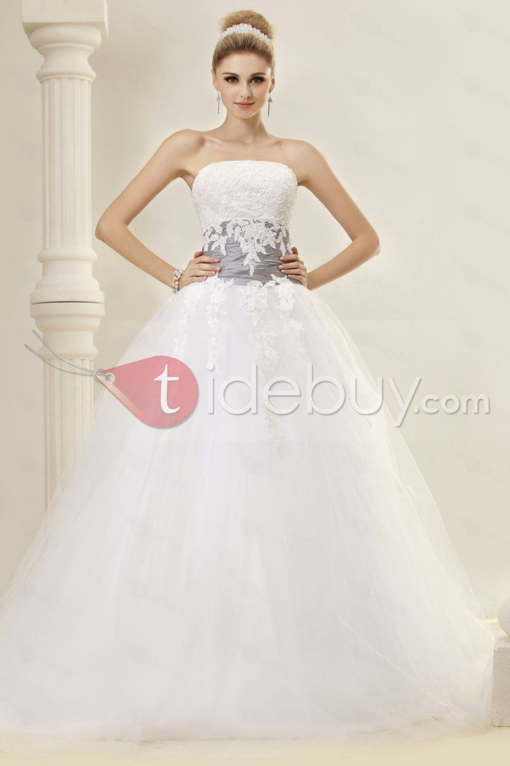 Christmas wedding dress zipper - Elegant Ball Gown Strapless Chapel Train Appliques Dasha S Wedding Dress