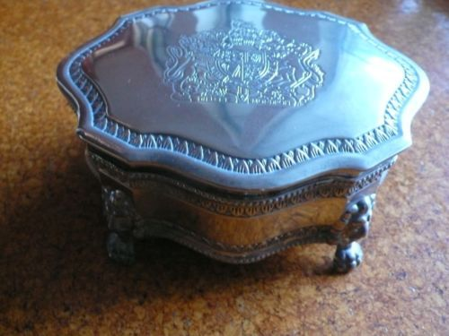 Vintage silver plated musical jewellery box