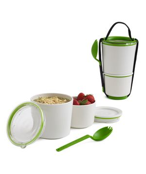 Stackable Lunch Pot    Perfect for students and commuters, this space-saving microwaveable lunch box makes it easy to take your meal on the go. Simply pack, stack, and carry by its handy strap.