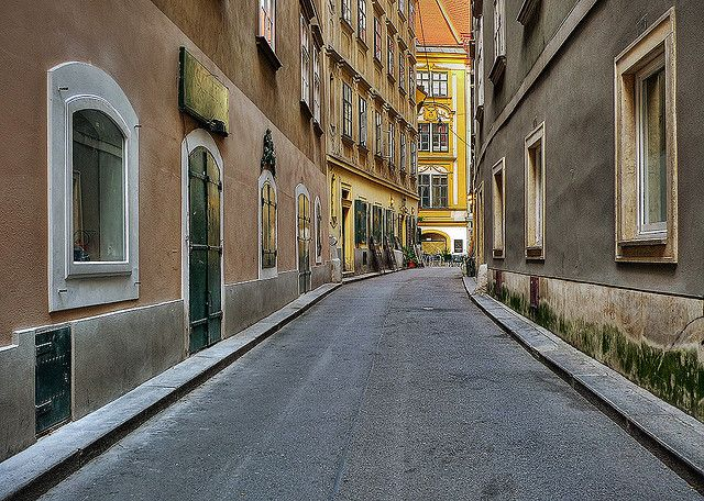 One of the streets of Old Vienna, down which Elodie in disguise flees with Will