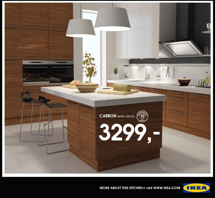 Stunning white IKEA kitchen design with white colored countertop and minimalist kitchen island. Find more ikea kitchen catalogues on www.netnoot.com #IKEA #Kitchen