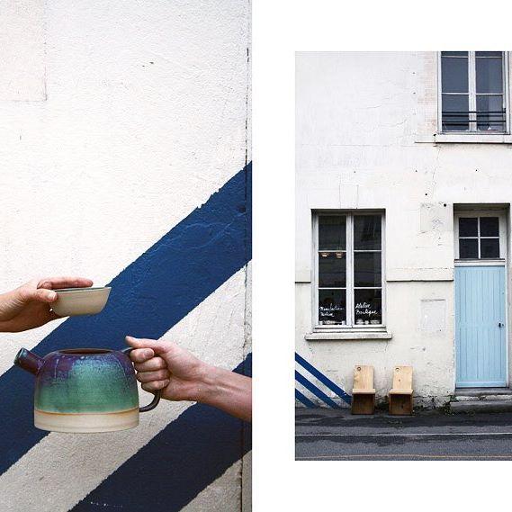 """La théière, en émail mat """"vert smaragdin"""", une couleur hallucinante dont seule @laurette.b a le secret, est le point de départ de sa première collection... Découvrez en + dans notre article >>> link in bio 📸 : @laura.wencker  #nous_paris #artisans #alarencontredesartisans #meetthemaker #craftspeople #handcrafted #madebyhand #madeinparis #craftsmanship"""