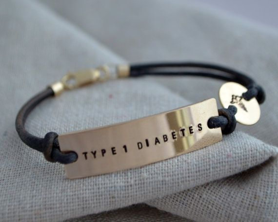 Gold Medical Alert Bracelet  One Line  by ThoughtBlossoms on Etsy