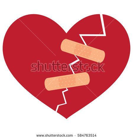 Broken heart icon vector illustration with plaster