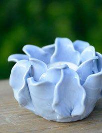 Portacandele fiore azzurro