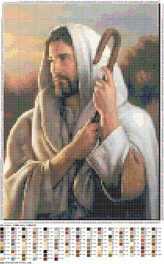 A través de Barbara Bordelon     Patrón punto cruz - Jesús buen pastor