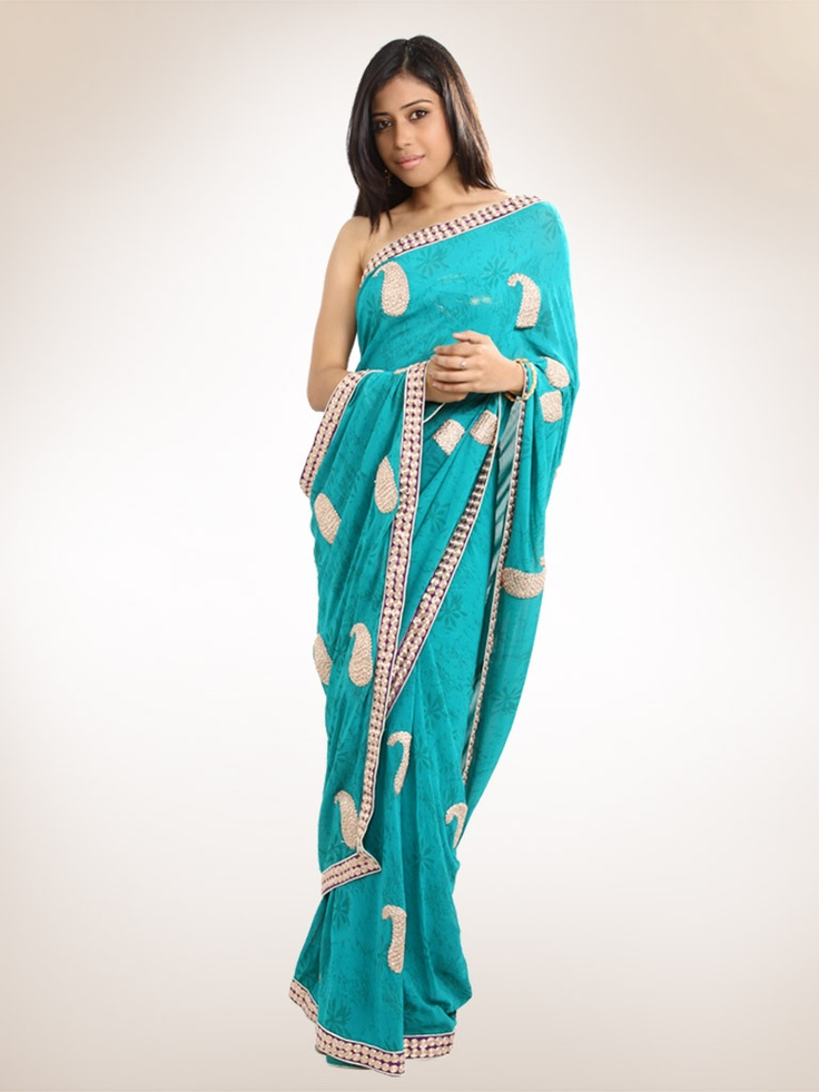 Teal Printed Georgette Sari with Gold Work