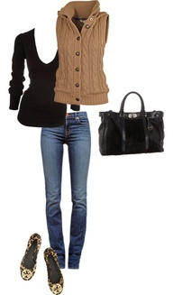 knitted vest, fall outfit. . . . everything but the shoes