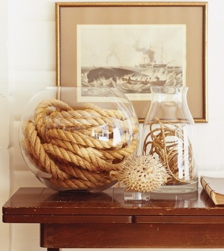 Really love the different textures from the ropes, twine and glass - a great idea using cheap vases from discount stores, put as display in bathroom.