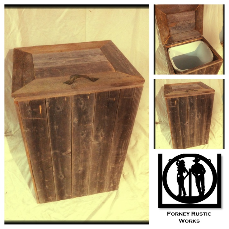 Reclaimed Wood  Trash Can   Messaged Forney Rustic Works on FB for quote. LOVE!