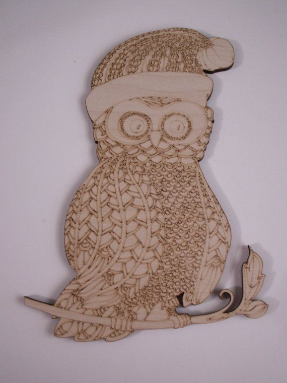 Large Christmas Wood Owl Wall Art Wood Shapes  This listing is for 1 piece. Material: Baltic Birch, 1/4 thick.  Laser Cut. Unfinished . Can be