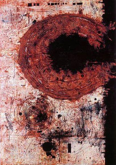 Mikuláš Medek - A sudden event on the border of red (1962). #painting #art #Czechia
