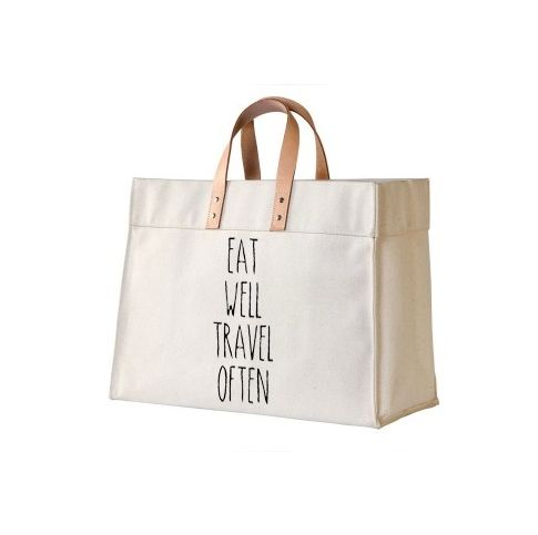 EAT WELL TRAVEL OFTEN Canvas and Leather Tote | Dewdrop Designs