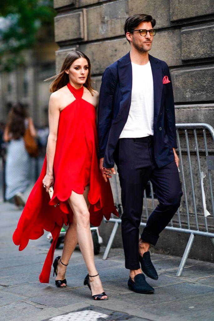 f5130d38a57f Olivia Palermo wears a red dress   Johannes Huebl wears a white top ...