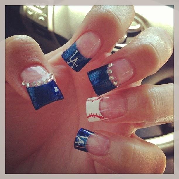 Fun Baseball Nails ( I'd rep Anaheim Angels, of course)!