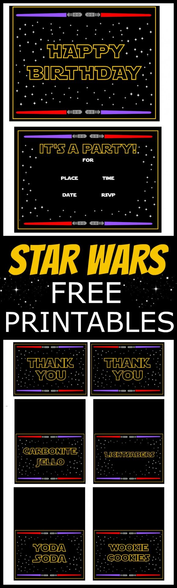 Star Wars Free Printables including invitations, a welcome sign, cupcake toppers, themed food cards and thank you cards! For more Star Wars party ideas head to CatchMyParty.com