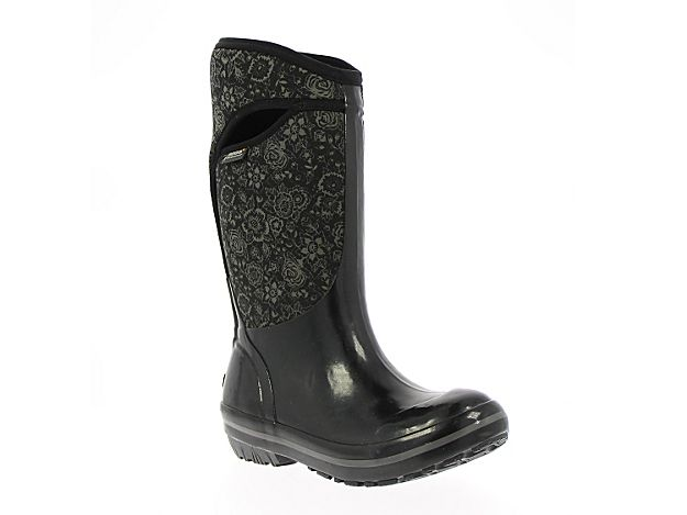 Women Plimsoll Quilted Floral Tall Rain Boot -Black/Grey