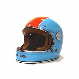 Casque Moto Vintage Integral Mârkö Full Moon Bleu Orange Marko
