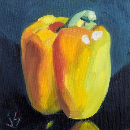 "Daily Paintworks - ""Yellow Pepper Refined"" by Johnna Schelling"