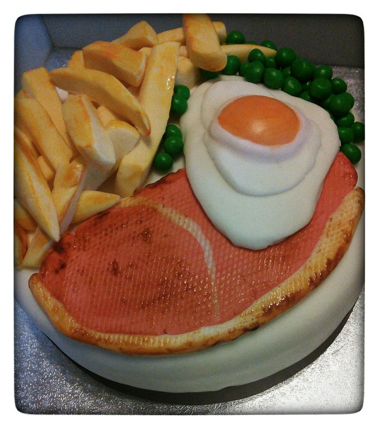 Gammon egg and chips cake.