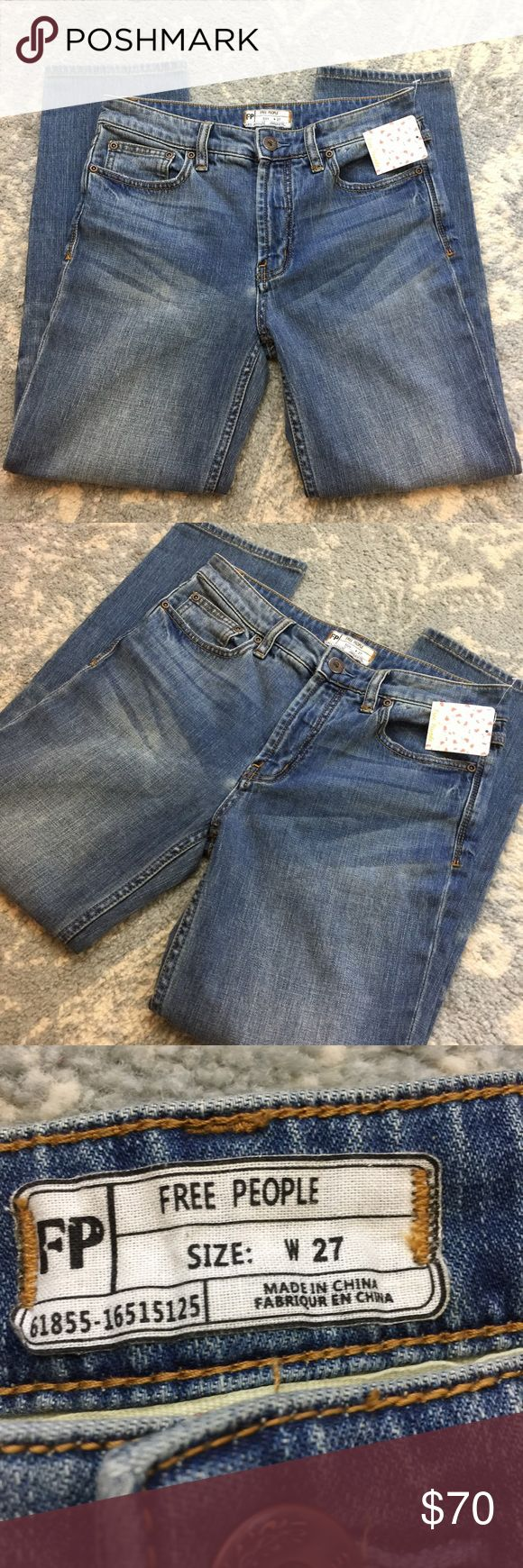 NWT Free People High Rise Cropped Denim Jeans Free People Jeans new with tags and is cropped with High Rise top and all the typical bells and whistles Jeans have! Free People Jeans
