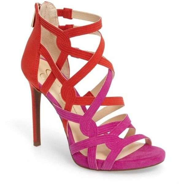 Women's Jessica Simpson Rainah Sandal ($48) ❤ liked on Polyvore featuring shoes, sandals, vivid orchid faux suede, cage sandals, stiletto sandals, caged shoes, high heel stilettos and jessica simpson footwear