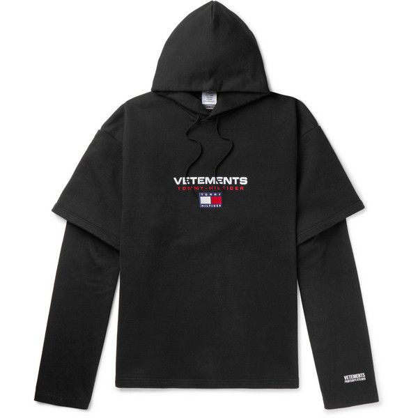 Vetements + Tommy Hilfiger Oversized Cotton-Blend Jersey Hoodie (99300 RSD) ❤ liked on Polyvore featuring men's fashion, men's clothing, men's hoodies, mens sweatshirts and hoodies, mens hoodies, american eagle mens hoodies and mens short sleeve hoodies