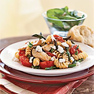 Reminiscent of a pasta salad, this recipe coats rotini and colorful vegetables with a basil-flecked balsamic vinaigrette.Chicken Asparagus, Pasta Salad, Tomatoes Recipe, Cooking Sprays, Goats Chees, Cooking Lights, Gluten Free Pasta, Tomato Recipes, Dinner Tonight