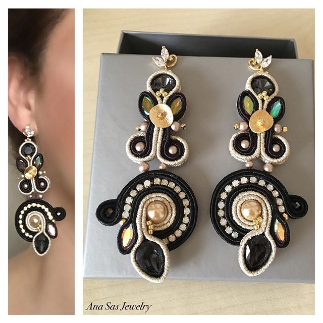 #earrings #swarovski #soutache #handmade #handmadejewelry #orecchini #fattoamano #oro #nero #black #gold #soutacheearrings