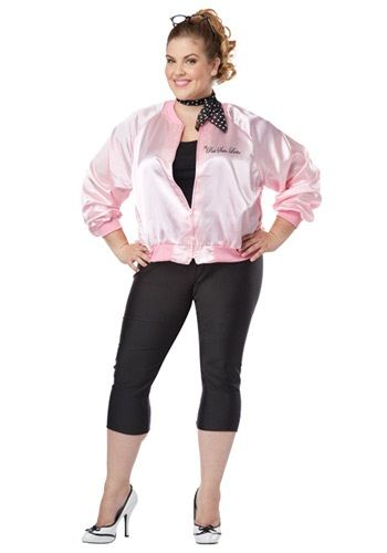 plus size satin pink ladies jacket perfect for your halloween costume - Halloween Costume Plus Size Ideas