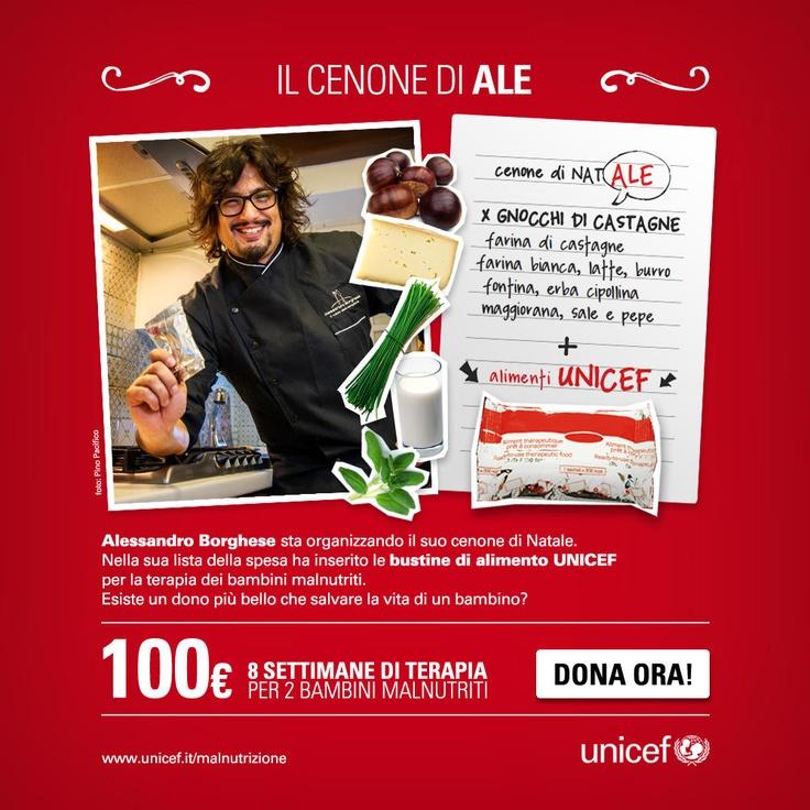 Anche lo chef Alessandro Borghese supporta UNICEF nella lotta alla malnutrizione. Per il suo cenone di Natale, nella lista della spesa ha inserito alimenti terapeutici per i bambini malnutriti. www.unicef.it/donazioni