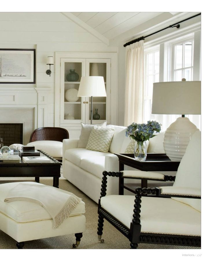 living room with white drapery interiors digital more - Black And White Chairs Living Room