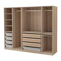 PAX Kleiderschrank, Eicheneffekt weiß lasiert - 250x58x201 cm - IKEA