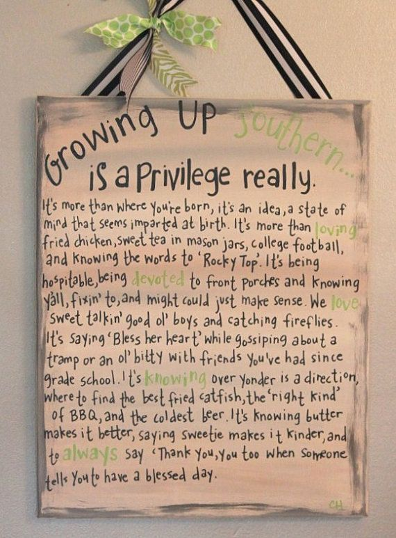 Southern sign with words of growing up Southern by LetterMeThis